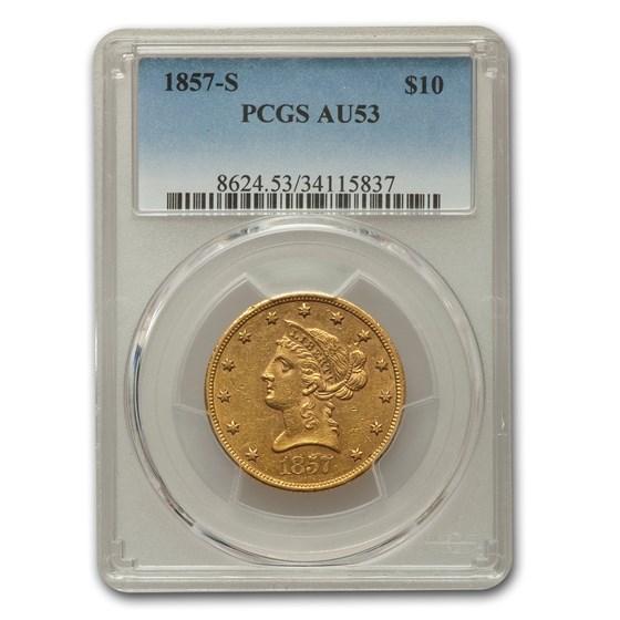 1857-S $10 Liberty Gold Eagle AU-53 PCGS