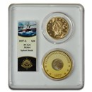 1857-S $20 Lib Gold SS Central America Spiked Shield MS-64 PCGS