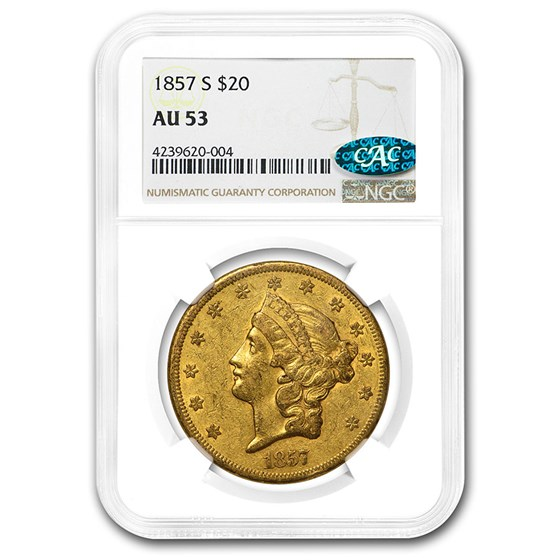 1857-S $20 Liberty Gold Double Eagle AU-53 NGC CAC