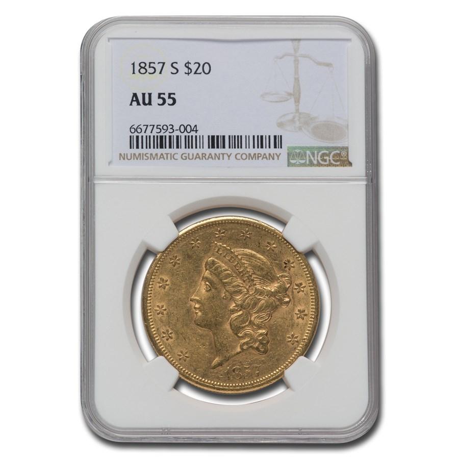 1857-S $20 Liberty Gold Double Eagle AU-55 NGC