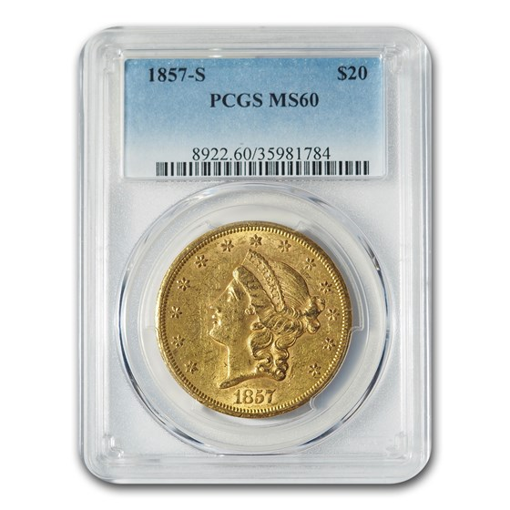 1857-S $20 Liberty Gold Double Eagle MS-60 PCGS
