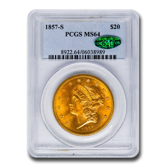 1857-S $20 Liberty Gold Double Eagle MS-64 PCGS CAC