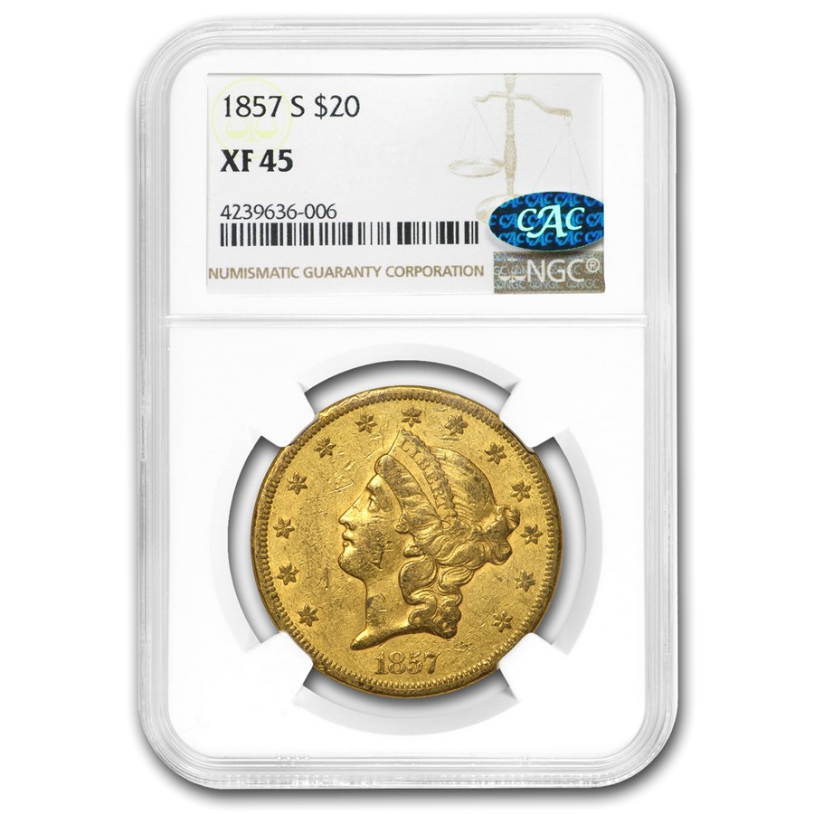 1857-S $20 Liberty Gold Double Eagle XF-45 NGC CAC
