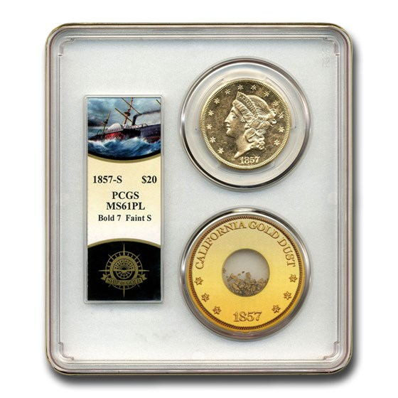 1857-S $20 Liberty Gold SS Central America MS-61 PCGS (PL,Bold S)