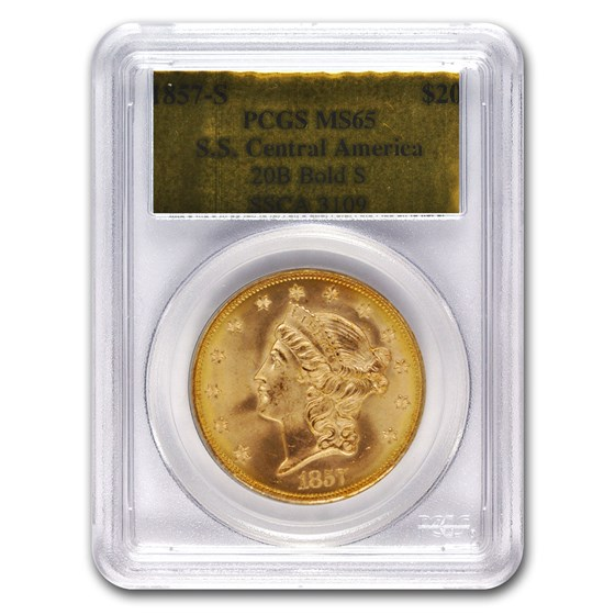 1857-S $20 Liberty Gold SS Central America MS-65 PCGS (Bold S)