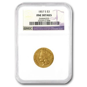 1857-S $3 Gold Princess Fine Details NGC (Rev Scratch)