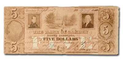 1857 The Bank of Camden, SC, $5 SC-5, VF