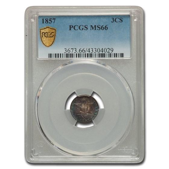 1857 Three Cent Silver MS-66 PCGS