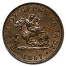 1857 Upper Canada Half Penny Bank Token XF