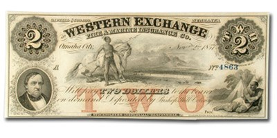 1857 Western Exchange Ins Co Omaha, Nebraska $2.00 Cert Dep NE-80