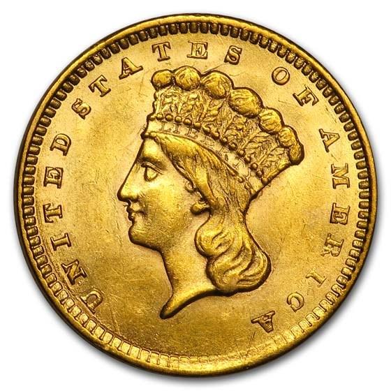 1858 $1 Indian Head Gold Dollar Type 3 AU