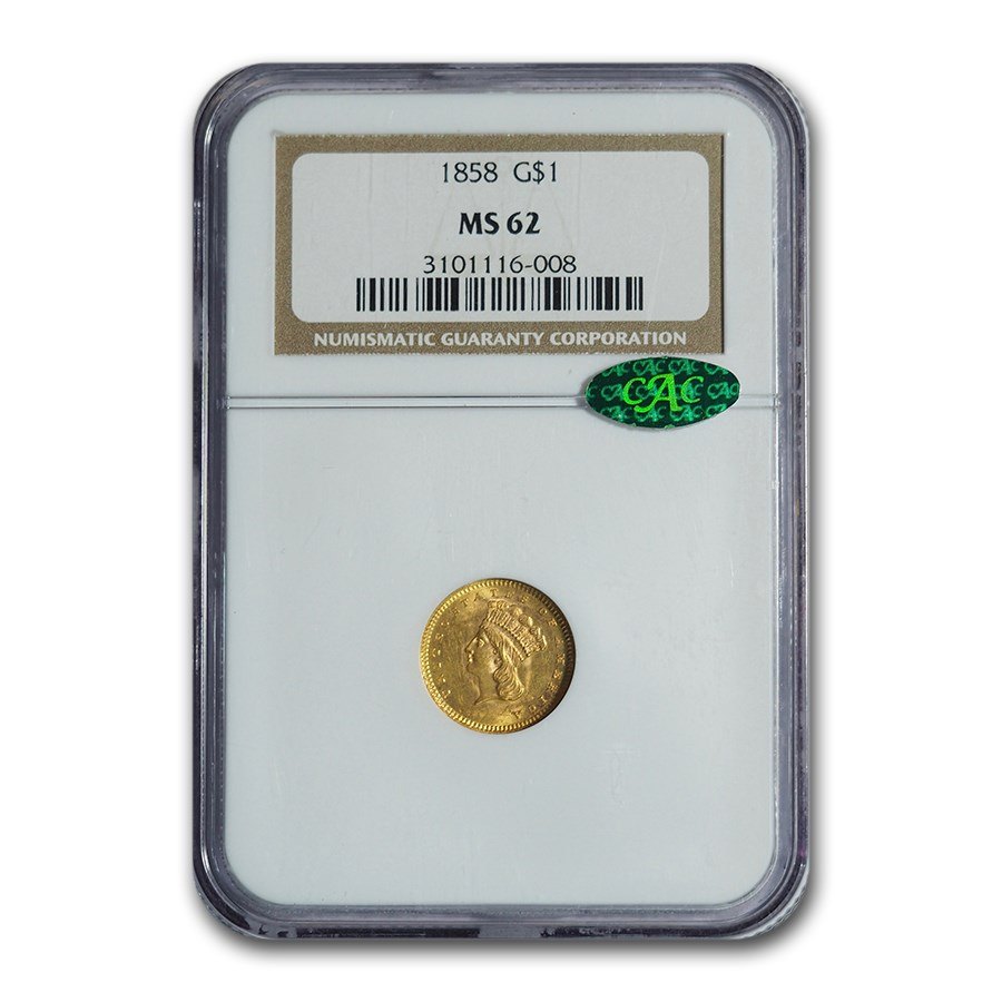1858 $1 Indian Head Gold MS-62 NGC CAC