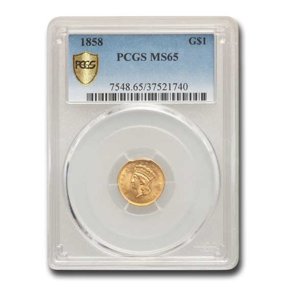1858 $1 Indian Head Gold MS-65 PCGS