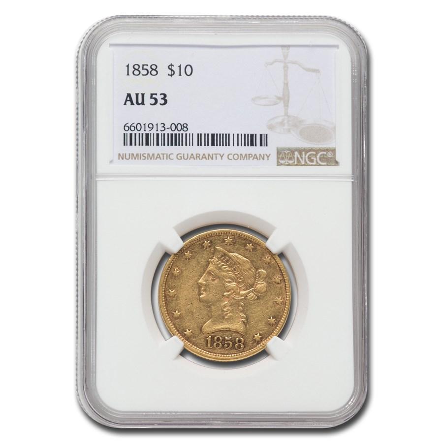 1858 $10 Liberty Gold Eagle AU-53 NGC