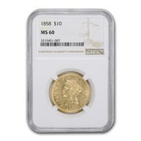 1858 $10 Liberty Gold Eagle MS-60 NGC