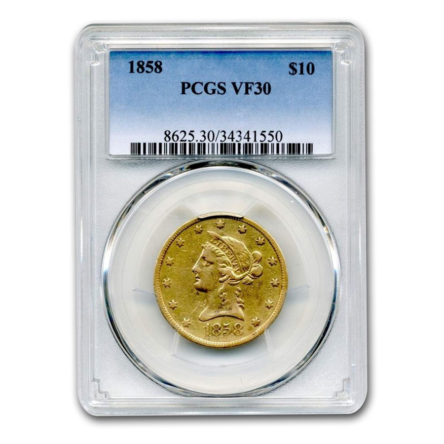1858 $10 Liberty Gold Eagle VF-30 PCGS