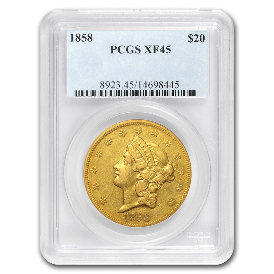 1858 $20 Liberty Gold Double Eagle XF-45 PCGS