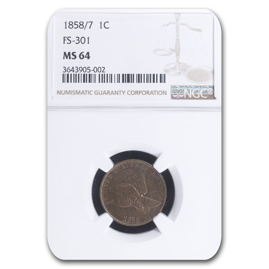 1858/7 Flying Eagle Cent MS-64 NGC (FS-301)
