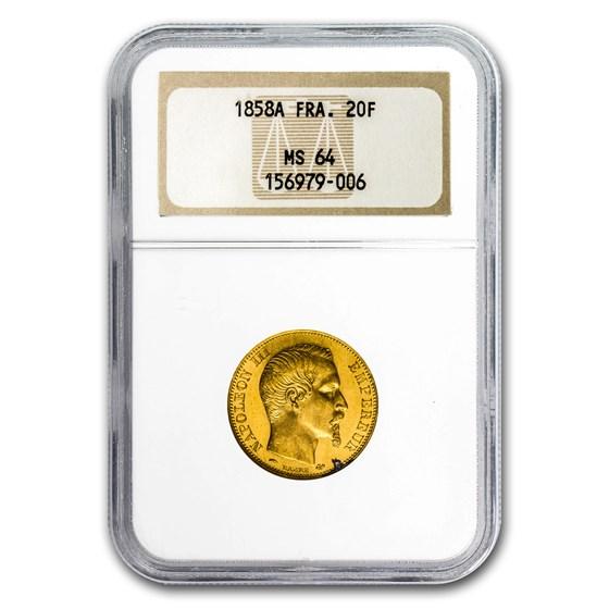 1858-A France Gold 20 Francs Napoleon III MS-64 NGC