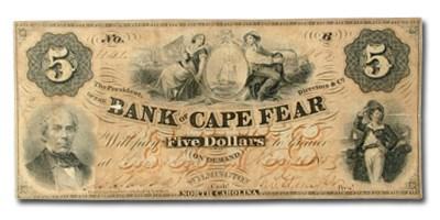 1858 Bank of Cape Fear, Wilmington NC $5 NC-90 VF