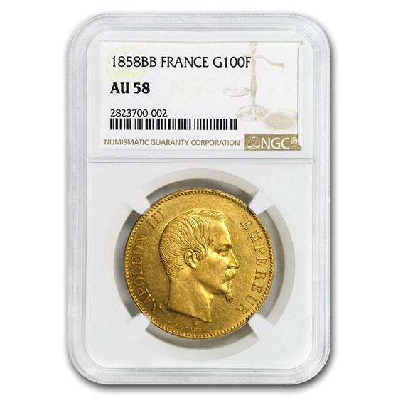 1858-BB France Gold 100 Francs Napoleon III AU-58 NGC