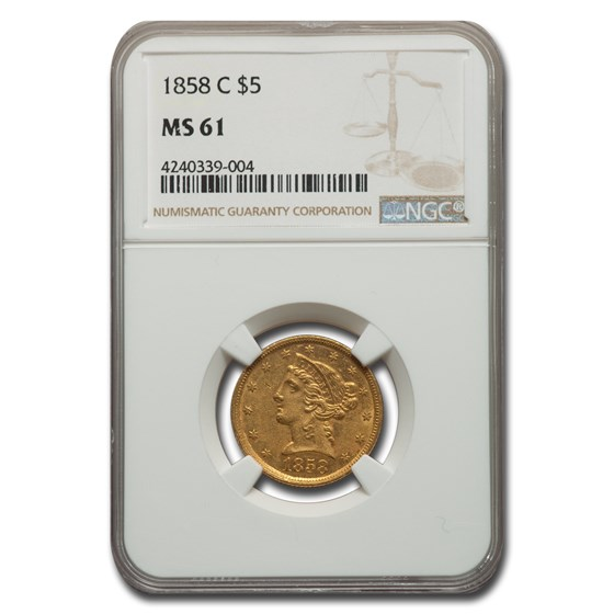 1858-C $5 Liberty Gold Half Eagle MS-61 NGC