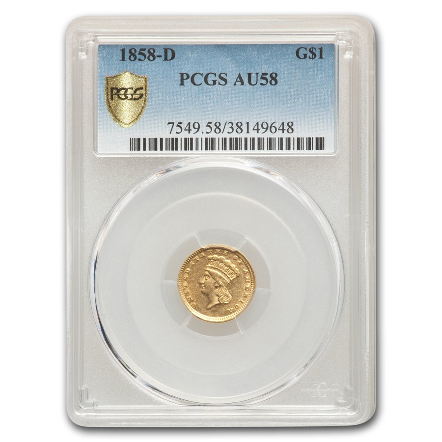 1858-D $1 Liberty Head Gold AU-58 PCGS