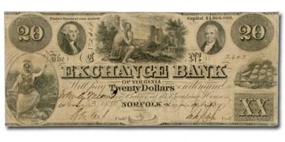 1858 Exchange Bank of Norfolk, VA $20 VA-145 Fine