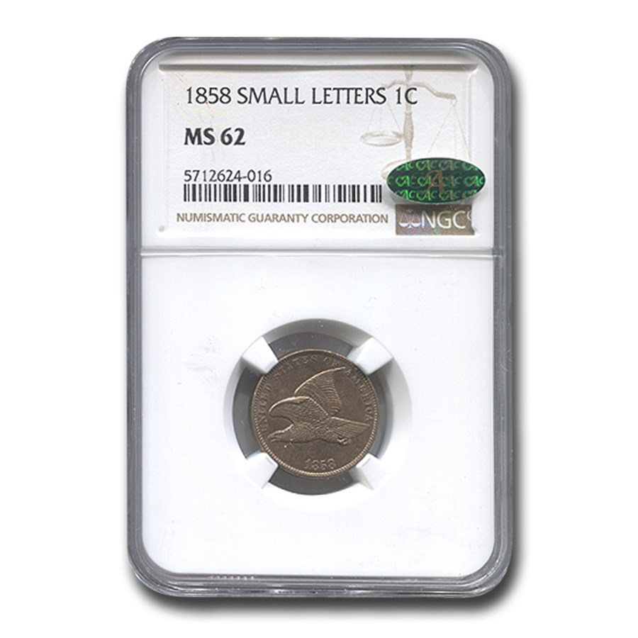 1858 Flying Eagle Cent MS-62 NGC CAC (Small Letters)