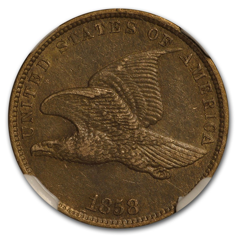 1858 Flying Eagle Cent Small Letters AU-58 NGC