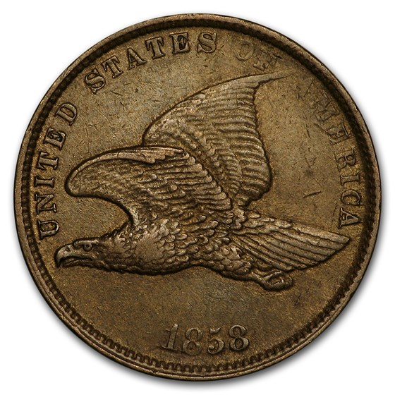 1858 Flying Eagle Cent Small Letters AU
