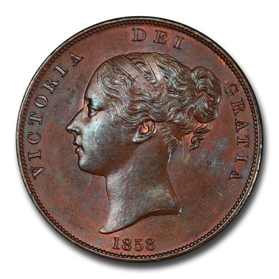 1858 Great Britain Copper Penny Victoria MS-64 PCGS (Brown)