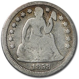 1858 Liberty Seated Dime VG