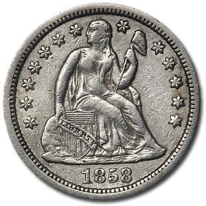 1858 Liberty Seated Dime XF (Details)