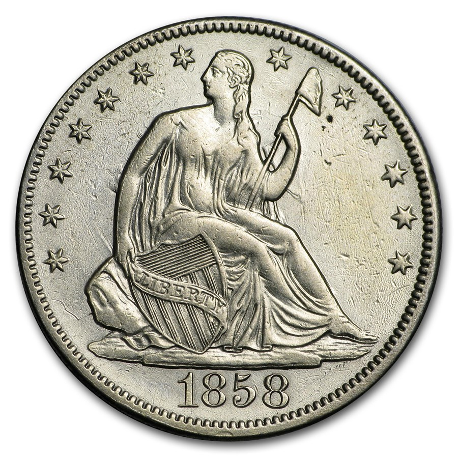 1858 Liberty Seated Half Dollar AU Details (Cleaned)