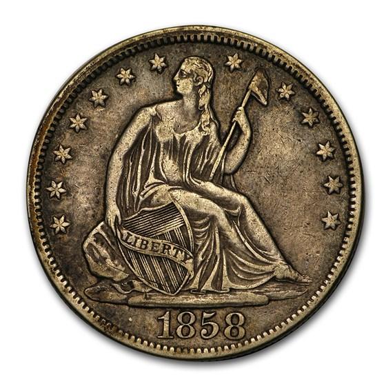 1858 Liberty Seated Half Dollar XF