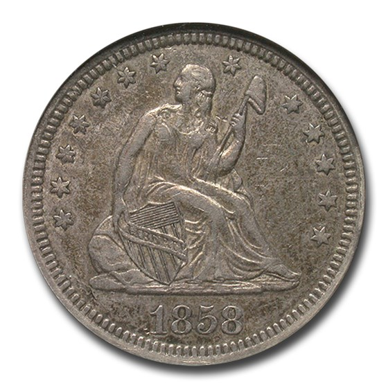 1858 Liberty Seated Quarter AU-50 NGC