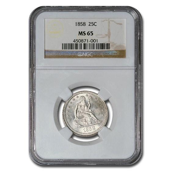 1858 Liberty Seated Quarter MS-65 NGC