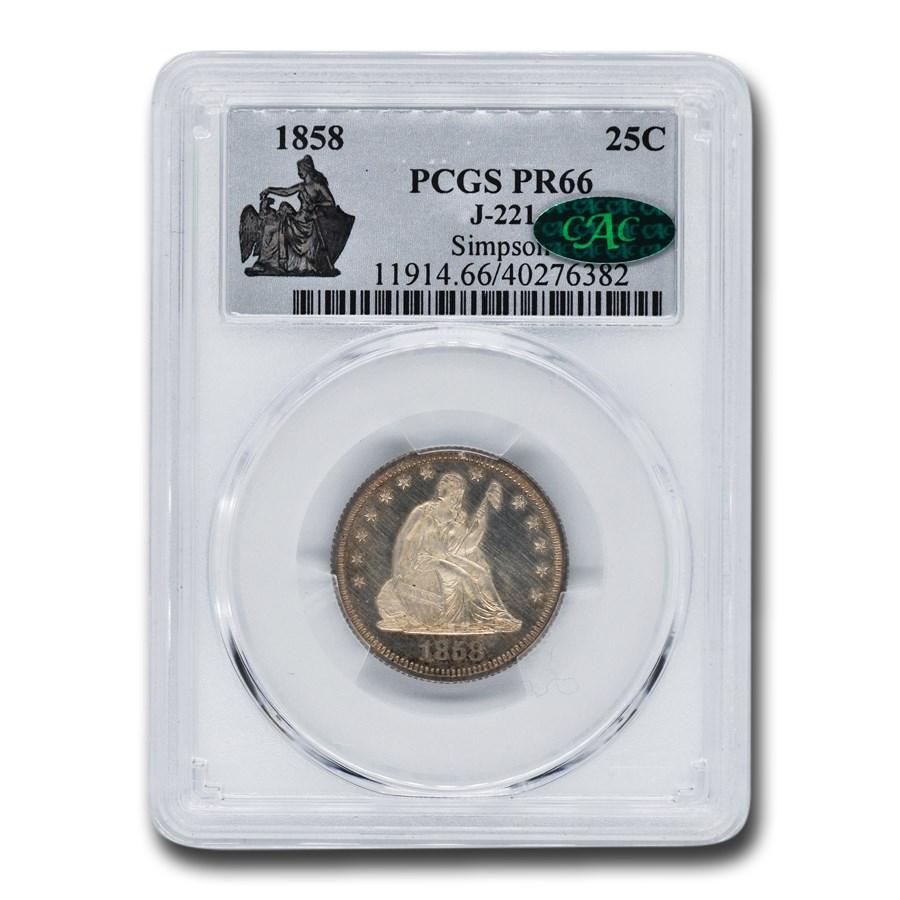 1858 Liberty Seated Quarter Pattern PR-66 PCGS CAC (J-221)