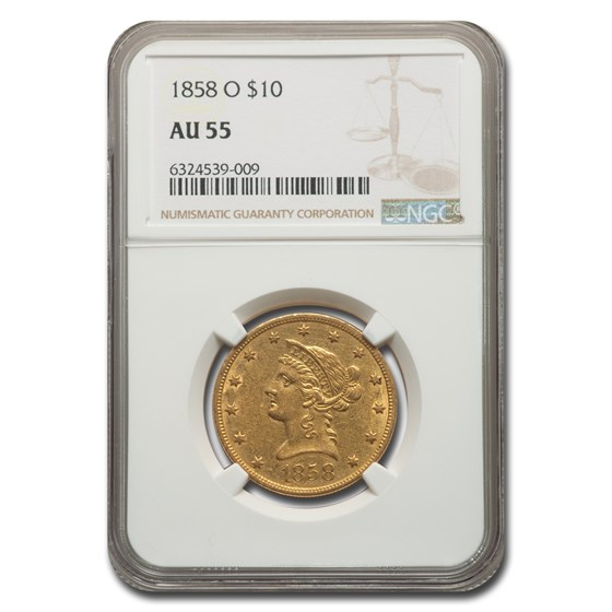 1858-O $10 Liberty Gold Eagle AU-55 NGC