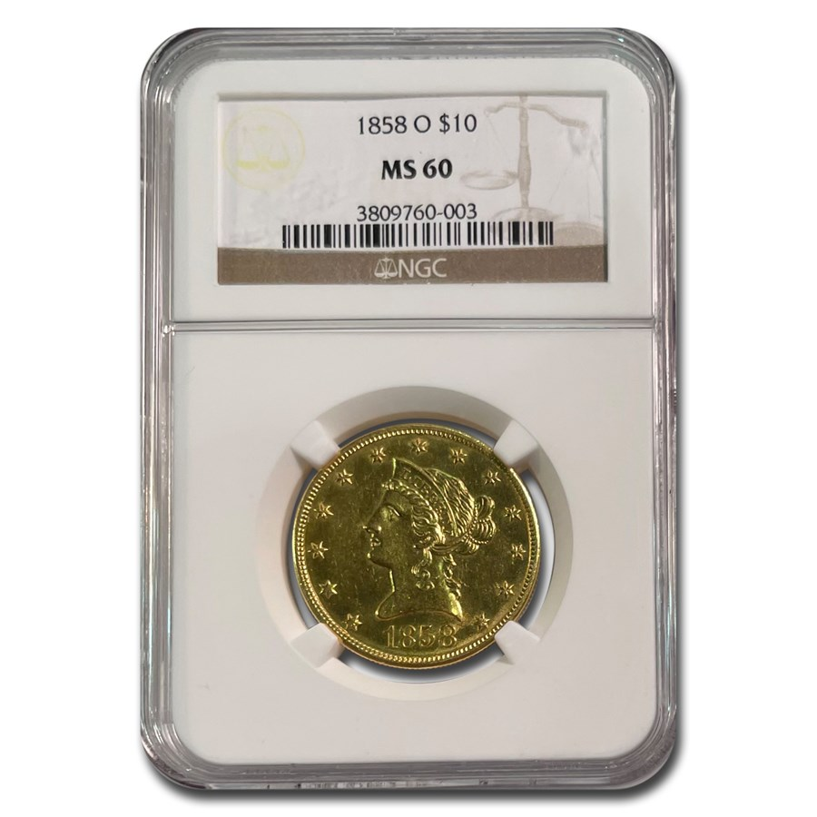 1858-O $10 Liberty Gold Eagle MS-60 NGC