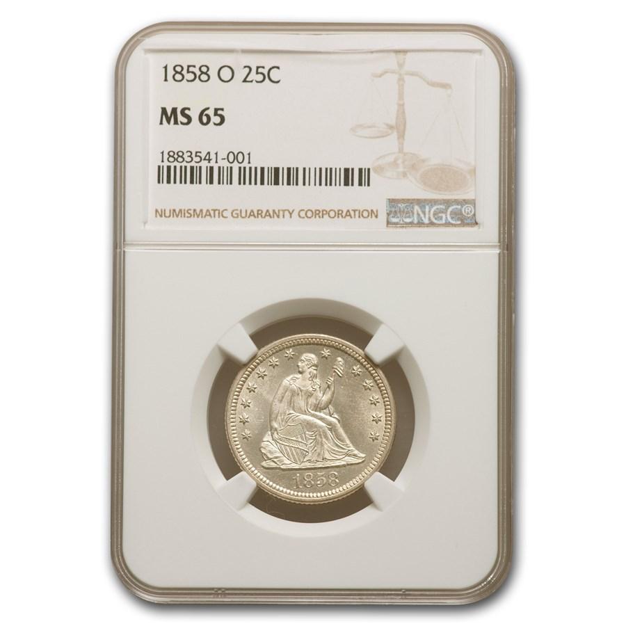 1858-O Liberty Seated Quarter MS-65 NGC