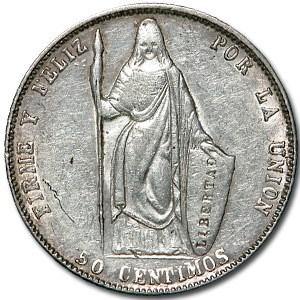 1858 Peru 50 Centimos XF