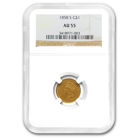 1858-S $1 Indian Head Gold AU-55 NGC