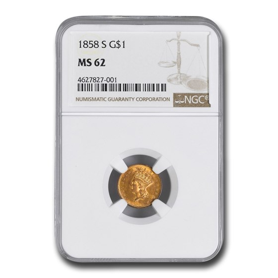 1858-S $1 Indian Head Gold Dollar MS-62 NGC