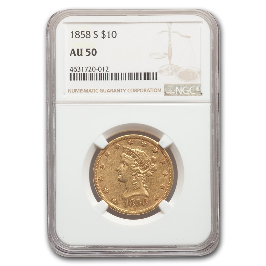 1858-S $10 Liberty Gold Eagle AU-50 NGC