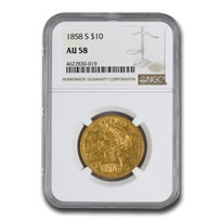 1858-S $10 Liberty Gold Eagle AU-58 NGC
