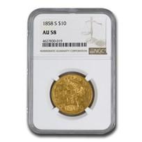 1858-S $10 Liberty Gold Eagle AU-58 NGC