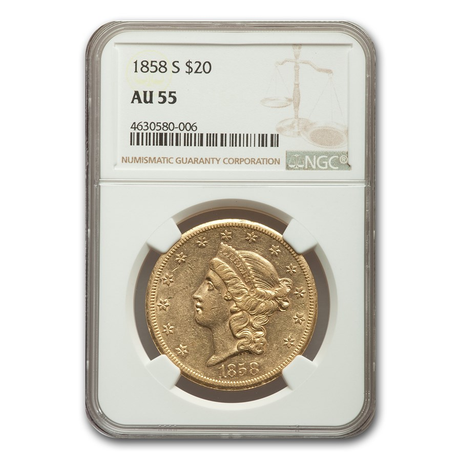1858-S $20 Liberty Gold Double Eagle AU-55 NGC