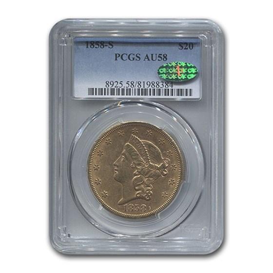 1858-S $20 Liberty Gold Double Eagle AU-58 PCGS CAC